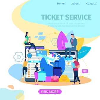 Ticket booking service bandeira de web vector plana