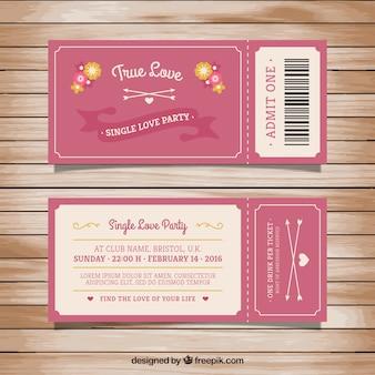 Ticket para a festa de amor única