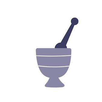 Tigela bonita para poção de bruxaria em um fundo branco. atributos para magia. mão-extraídas único vetor ilustração isolada.