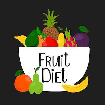 Tigela com frutas em fundo preto. ilustração de frutas