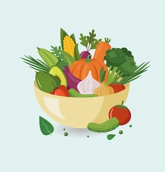 Tigela com legumes frescos e saudáveis. ilustração vetorial.