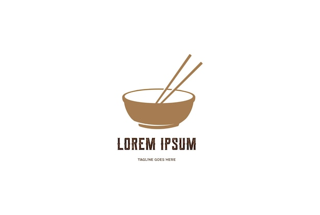 Tigela com palito para asiático oriental, japonês, coreano chinês, comida, restaurante, logotipo, vetorial