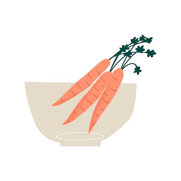 Tigela com vetor de ingrediente saudável de cenouras