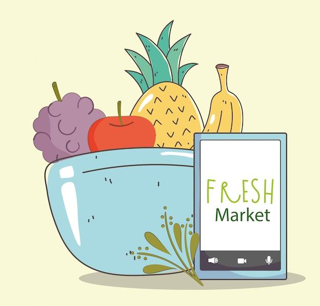 Tigela de alimentos saudáveis orgânicos de smartphone de mercado fresco de frutas e legumes