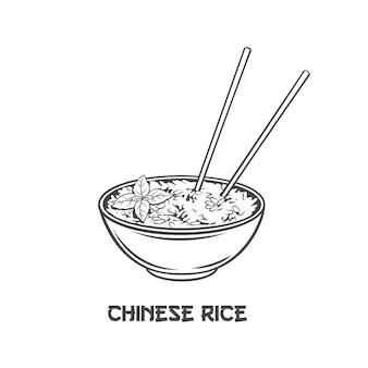 Tigela de arroz com ícone de contorno de pauzinhos verticais chineses