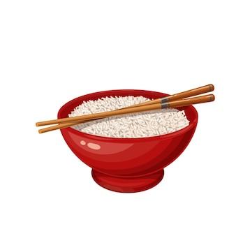 Tigela de arroz com ícone de pauzinhos chineses para o menu de comida asiática. ilustração do vetor de culinária chinesa.