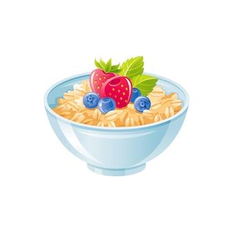 Tigela de aveia. aveia doce com frutas, bagas. xícara de café da manhã saudável, aveia refeição mingau.