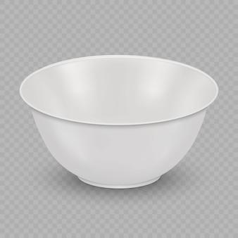 Tigela de cerâmica branca realista isolada em fundo transparente