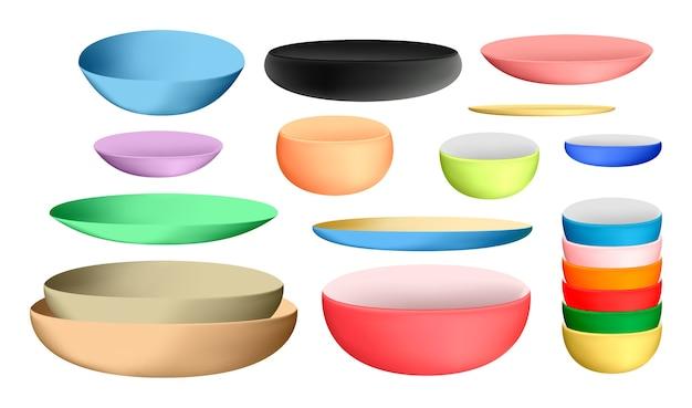 Tigela de cerâmica colorida e pratos