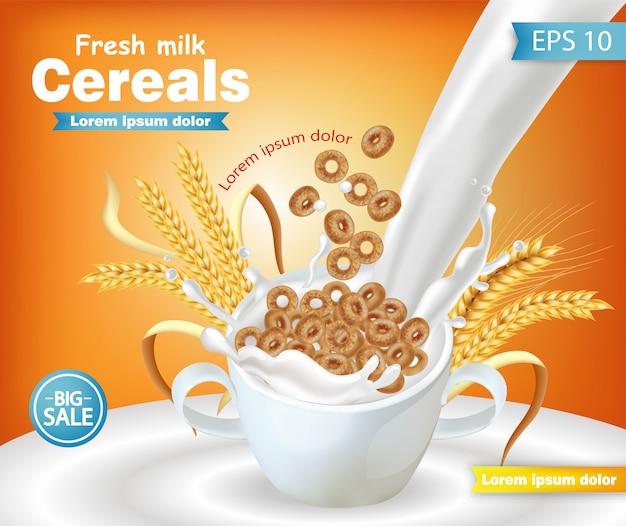 Tigela de cereais de centeio com maquete de respingo de leite