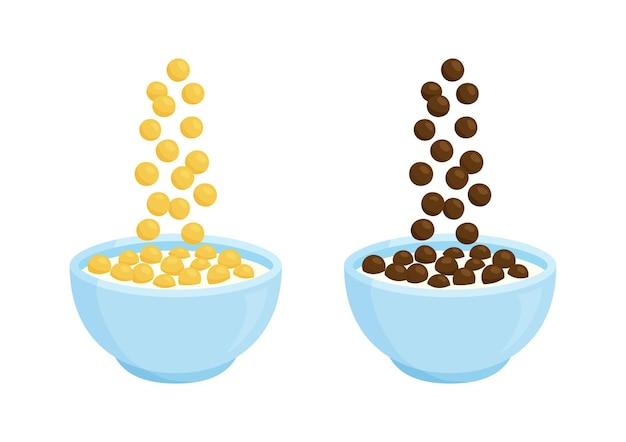 Tigela de cereal e café da manhã com leite com chocolate. aveia de desenhos animados. flocos de milho caindo. ilustração