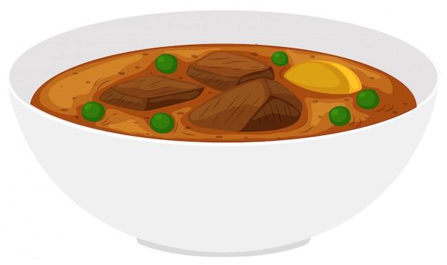 Tigela de ensopado de carne com legumes