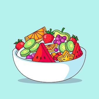 Tigela de frutas e saladas ilustrada