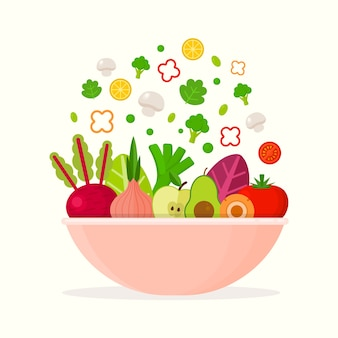 Tigela de frutas e saladas