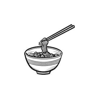 Tigela de ícone de doodle de contorno desenhado de mão de macarrão. ilustração do esboço do vetor sopa de macarrão para impressão, web, mobile e infográficos isolados no fundo branco.