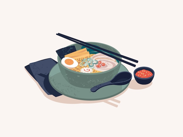 Tigela de macarrão ramen japonês com carne
