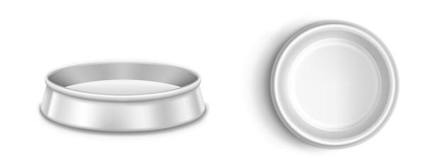 Tigela de metal para animais de estimação, prato para cão ou gato em vista frontal e superior.