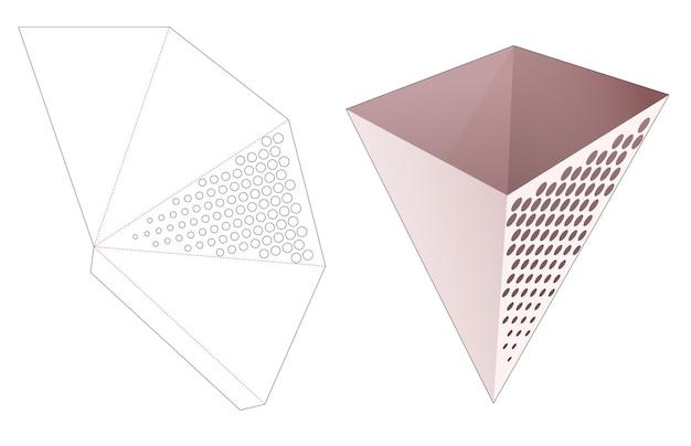 Tigela de papelão em formato triangular com molde recortado de pontos de meio-tom estampado