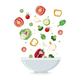 Tigela, de, salada vegetal