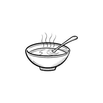 Tigela de sopa quente mão desenhada contorno doodle ícone. ilustração do esboço do vetor sopa miso para impressão, web, mobile e infográficos isolados no fundo branco.