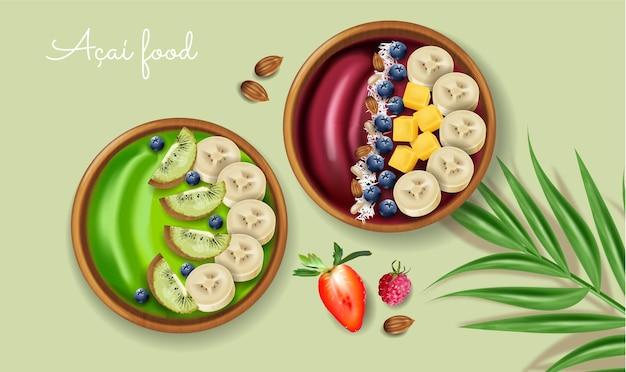 Tigela de suco de açaí e kiwi com simulação realista de banana e frutas em cima