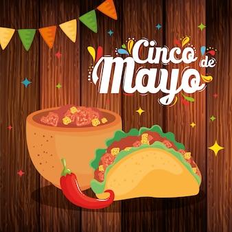 Tigela mexicana taco e pimenta de cinco de maio