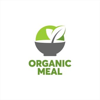 Tigela moderna simples de logotipo de comida orgânica