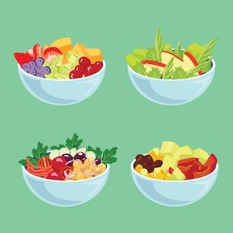 Tigelas azuis com legumes e frutas