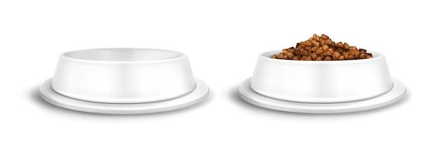 Tigelas brancas para animais de estimação, vazias e cheias de pratos de comida para cães ou gatos