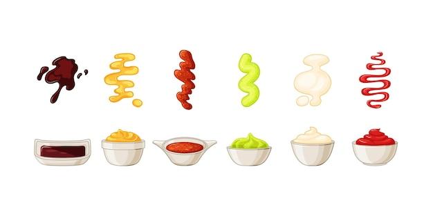 Tigelas com molhos com ketchup, maionese, wasabi, conjunto de molho de soja. um toque de molho. ilustração vetorial no estilo cartoon.