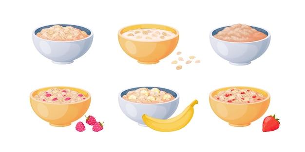 Tigelas de aveia. mingau de desenho animado com morango e banana, cereais cozidos e comida saudável