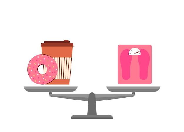 Tigelas de balança escolha fast food ou dieta saudável bolo de donut com café ou peso em comparação