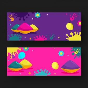 Tigelas de cor com balões, impressões de mão, flor e efeito de respingo de cor no conjunto de banner roxo e rosa
