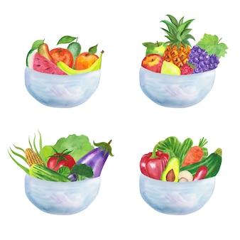 Tigelas de frutas e saladas de design em aquarela