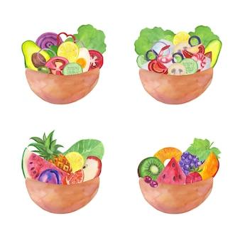 Tigelas de frutas e saladas de estilo aquarela