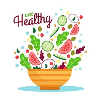 Tigelas de frutas e saladas mão design desenhado