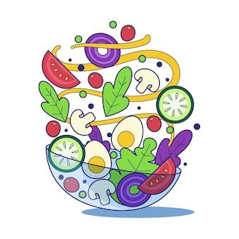 Tigelas de frutas e saladas mão estilo desenhado