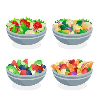 Tigelas de frutas e saladas