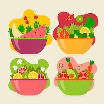 Tigelas de salada de frutas