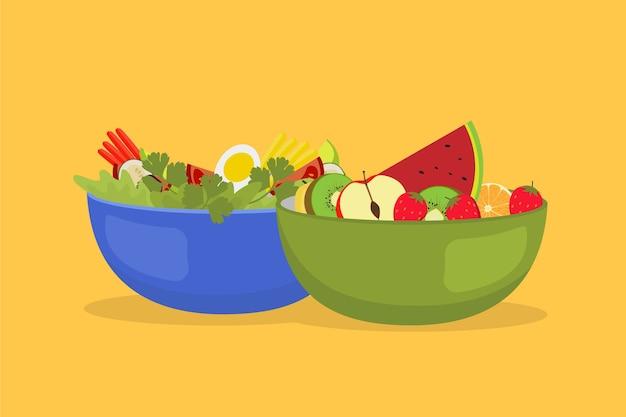 Tigelas saudáveis de frutas e saladas