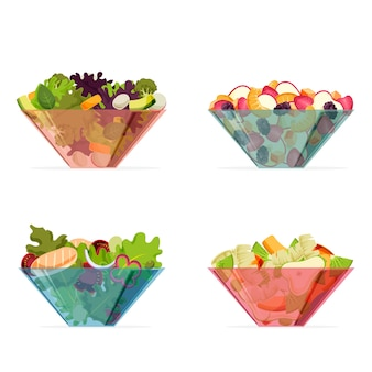 Tigelas transparentes coloridas com frutas