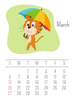 Tiger caminha sob um guarda-chuva. página do calendário vertical para março de 2022. a semana começa no domingo.