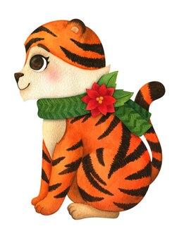 Tiger está sentado em um lenço de natal. clipart, ilustração em aquarela. animal cartoon é um símbolo do ano novo 2022. tigresa para cartões postais, decoração infantil