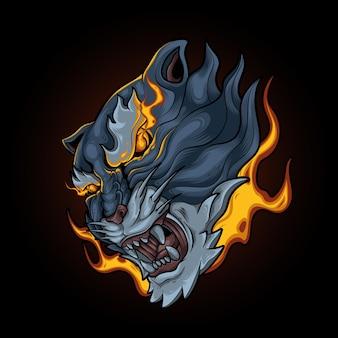 Tiger flame eye Vetor Premium