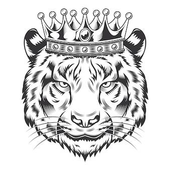 Tiger king head com desenho de coroa em fundo branco. logotipos do tiger head line art. ilustração vetorial.