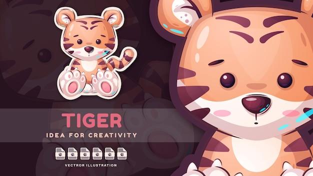 Tigre animal infantil personagem de desenho animado. vetor eps 10