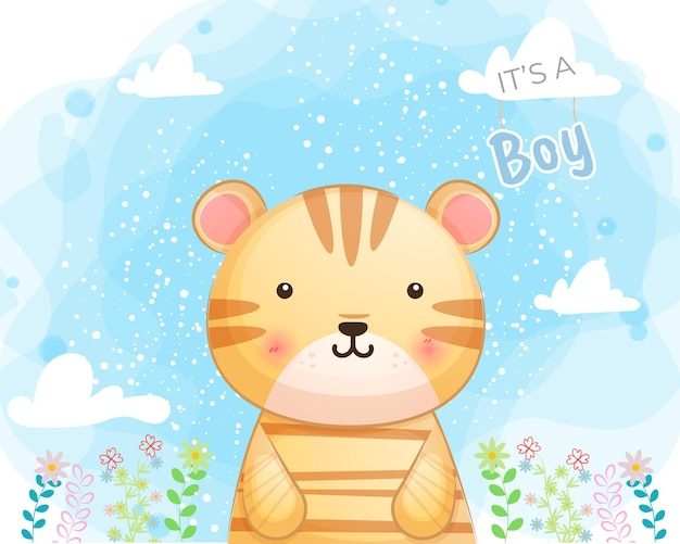Tigre bebê fofo com flores