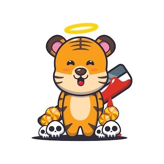 Tigre bom ou mau segurando um facão ensanguentado bonito ilustração dos desenhos animados do dia das bruxas