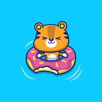 Tigre bonito com anel de natação icon illustration. conceito de ícone de verão animal isolado. estilo cartoon plana