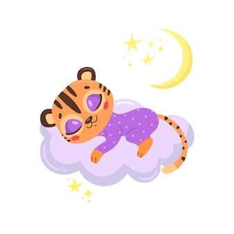 Tigre bonito dos desenhos animados dormindo numa nuvem.